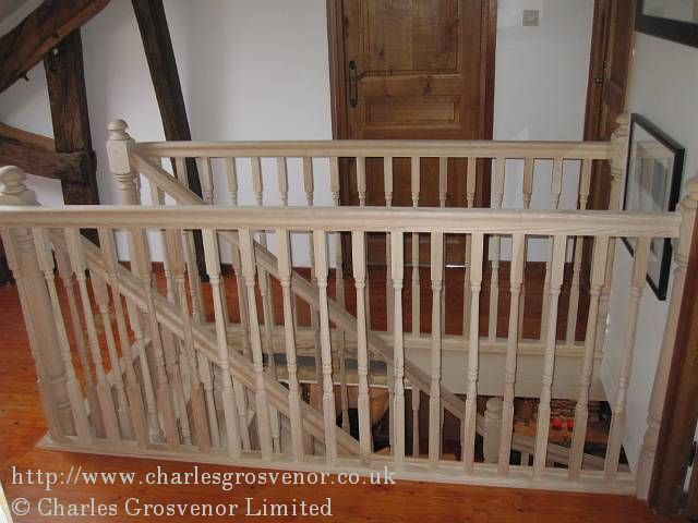 Here we have our new staircase entering the loft with full return balustrading in turned spindles and high profile handrail
