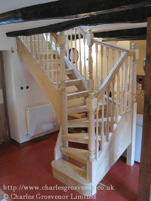 We have removed the old stairs and fixed a new single winder in oak