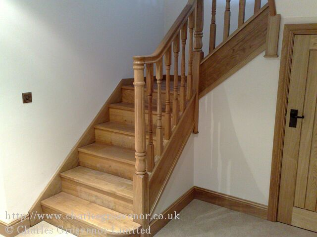 The staircase was manufactured in our own workshop using French oak.