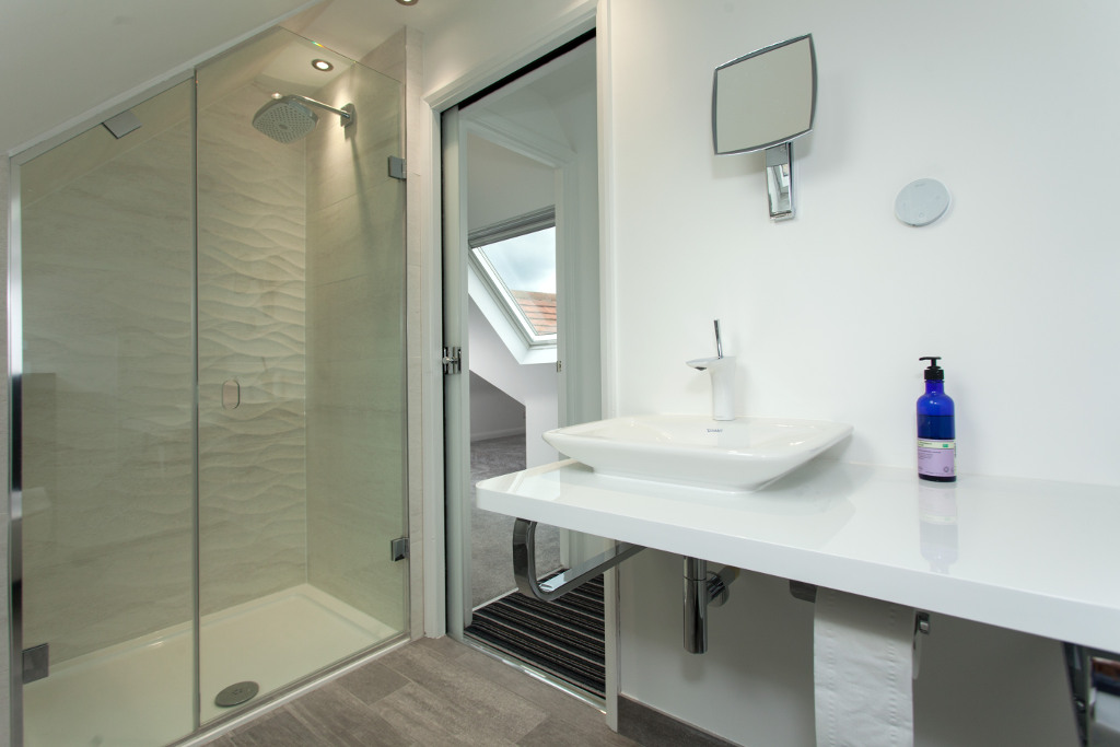 Compact shower room with rooflights