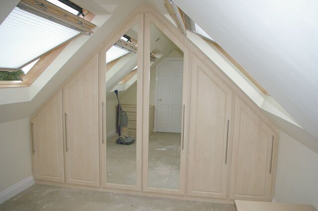 Bespoke Limed Oak And Mirrored Wardrobes Fitted To Gable