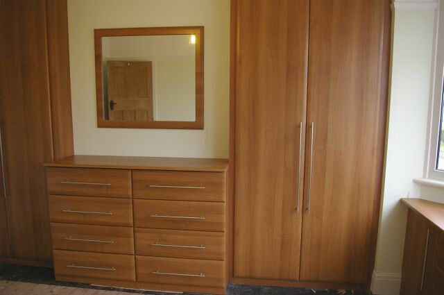 Bespoke chestnut wardrobe & drawers to loft conversion in Worcester