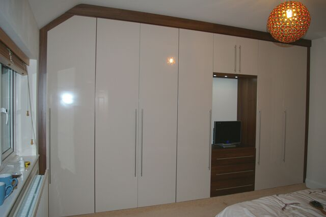 Bespoke, long handled gloss finish wardrobes in Reading